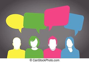 folk, färgglatt, talande