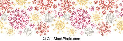 Folk floral circles abstract horizontal seamless pattern background