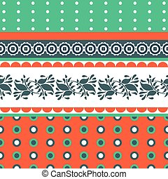 Folk floral red and green seamless vector pattern.