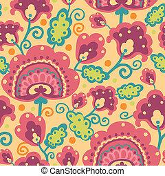 Folk Flowers Seamless Pattern Background