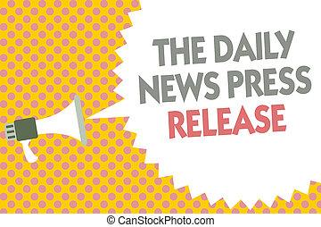 folk, fotografi, gul, meddelelse, release., tal, loudspeaker, skrift, halftone., tekst, begrebsmæssig, megafon, boble, firma, stor, viser, hånd, baggrund, presse, nyhed, kungør, daglige, eller