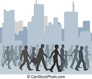 folk gå, flok, skyline, byen