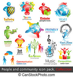 folk, gemenskap, 3, icons., vektor, design, elements., vol.,...