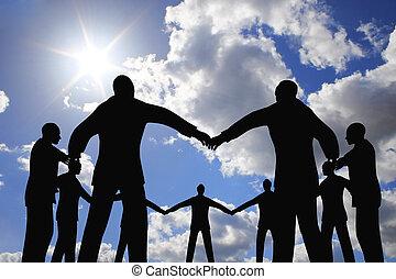 folk, grupp, cirkel, silhuett, på, sol, sky, collage