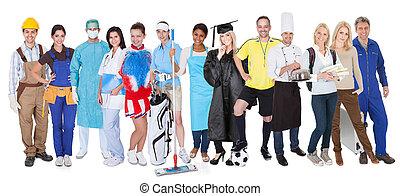 folk grupp, föreställa, mångfaldig, professionsen