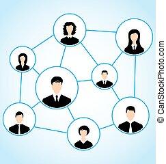 folk, grupp, förhållande, affär, social