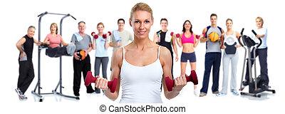 folk., grupp, fitness