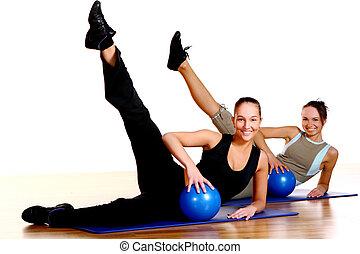 folk, grupp, gör, fitness, träningen