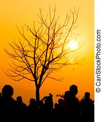 folk grupp, hos, solnedgång