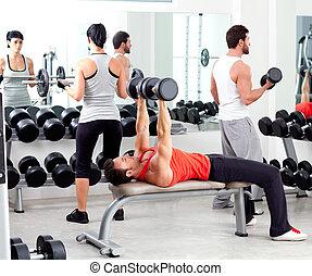 folk grupp, in, sport, fitness, gymnastiksal, viktutbildning
