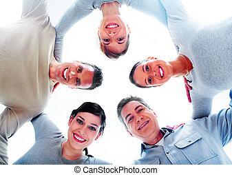folk., grupp, lycklig