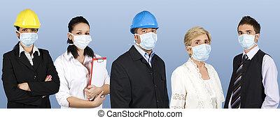 folk, grupp, skydda, influensa