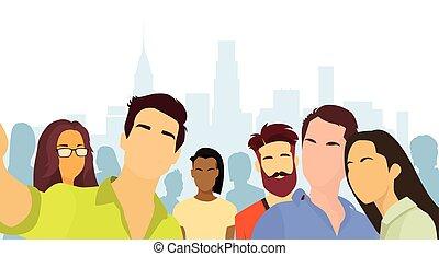 folk, grupp, tagande, selfie, foto, stad syn