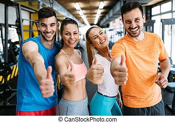 folk grupp, utbildning, in, gymnastiksal