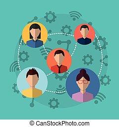 folk, gruppe, internet