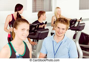folk, gymnastiksal, ung, lämplighet lärare, övning