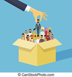 folk, hånd, indisk, person, flok, mand, kandidat, ressourcer, picking, æske, indien, branche kvinde, menneske, rekrutering