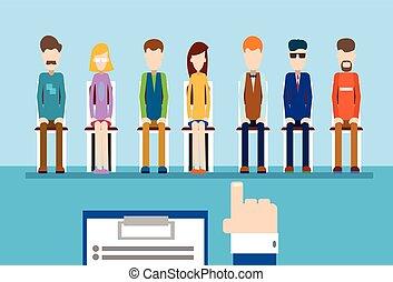 folk, hånd, punkt, finger, kandidat, gruppe, firma, greb, genopta, rekrutering