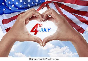 folk, hand, i forma, av, hjärta, med, 4 av juli, meddelande