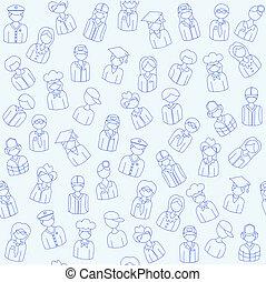 folk, hand, oavgjord, seamless, ikonen
