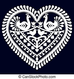 Vector white folk design from the region of Kurpie in Poland - love concept on grey background