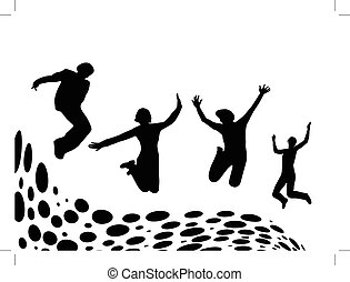 folk hoppande