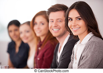 folk, hos, den, seminar., holdning, ung kvinde, smil,...