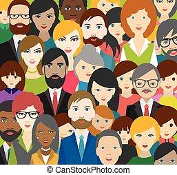 folk, huvuden, mångkulturellt, patter., lägenhet