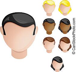 folk, huvuden, manlig, och, female., sätta, av, 4, hår, och,...