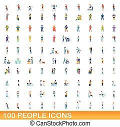 folk, ikonen, sätta, 100, stil, tecknad film