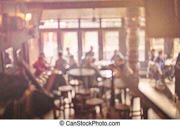 folk in, kaffeaffär, fläck, bakgrund, med, bokeh, lyse, årgång, filtrera, för, gammal, verkan, suddig fond
