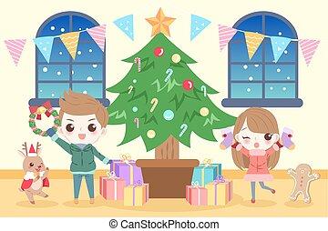 folk, jul, cartoon