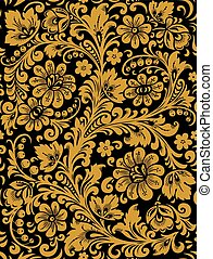Folk Khokhloma painting from Russia in black and golden colours