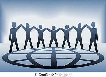 folk, klode globale, arme oppe, hænder, greb