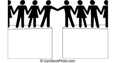 folk, koppla samman, förena, räckvidd, tillsammans, grupper