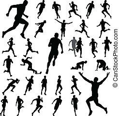 folk, løb, silhuetter