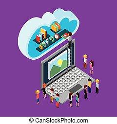 folk, lagring, sky, computing