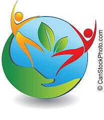 folk, logo, värld, omsorg, hälsosam
