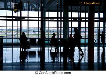 folk, lufthavn