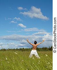 folk, lycklig, sommar dag