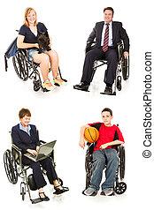 folk, -, mångfald, foto, block, handikappad, synen