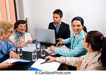 folk, möte, konversation, affär, ha