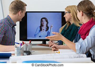 folk, møde, har, firma, online