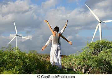 folk, med, havsarm uppe, nära, slingra turbiner