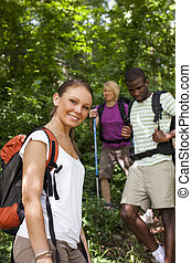 folk, med, ryggsäck, gör, trekking, in, ved