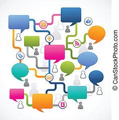 folk, media, avbild, anförande, social, bubblar