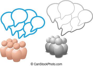 folk, media, symbol, anförande, social, bubblar, prata