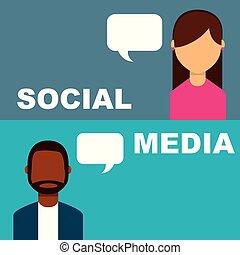 folk, medier, boble, tales, tale, sociale, banner