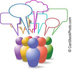 folk, medier, symboler, tale, sociale, bobler