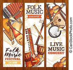 Folk music banner with ethnic musical instrument